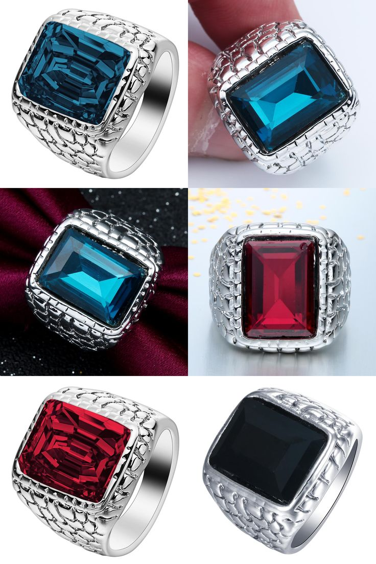[Visit to Buy] silver color large square crystal men ring jewelry for engagement cheap hot sale blue red black vintage wedding band for party #Advertisement