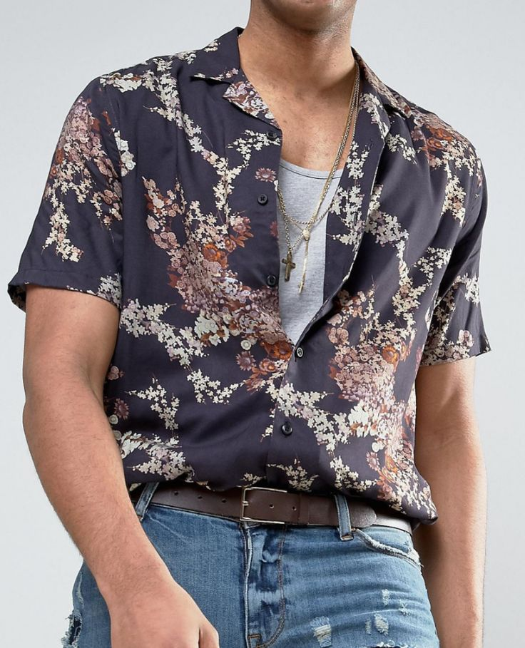 ASOS TALL Regular Fit Shirt With Japanese Floral Print from ASOS (men, style, fashion, clothing, shopping, recommendations, stylish, menswear, male, streetstyle, inspo, outfit, fall, winter, spring, summer, personal)