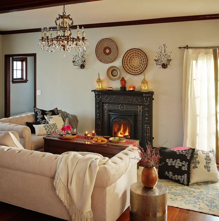 Woven Baskets Make Beautiful Wall Decor In This California Living Room.  Cozy Handmade Alpaca Throw