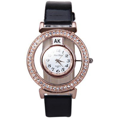 Quartz Watch with Diamonds Transparent Dial and 12 Arabic Numbers Indicate #shoes, #jewelry, #women, #men, #hats, #watches, #belts