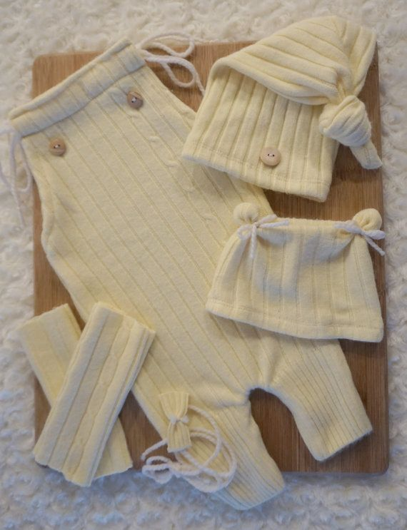 Upcycled Newborn Baby Romper & Top Knot Hat by JazzCraftBoutique