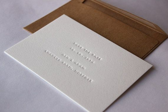 Your save the date message (a maximum of four lines of text) blind debossed onto high quality thick cotton card (set of 45). Card stock used: 425gsm