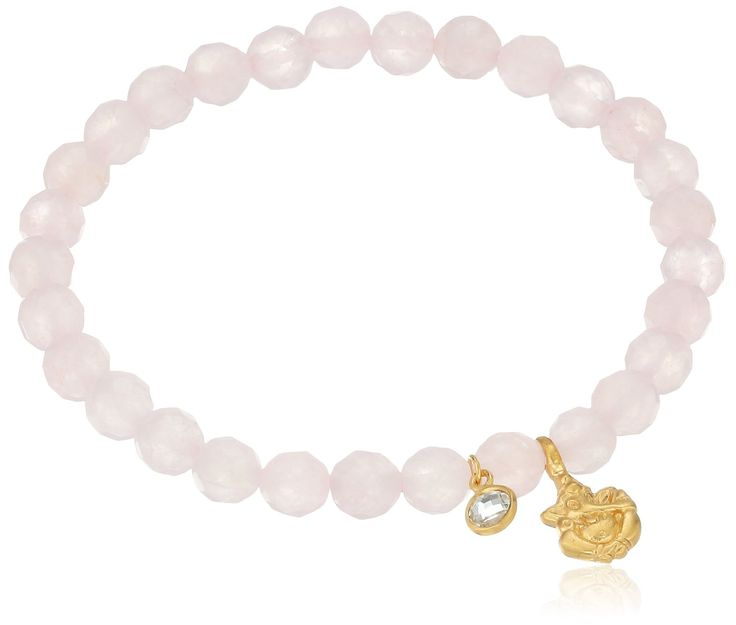 """Satya Jewelry Rose Quartz White Topaz Ganesha Stretch Bracelet. Charm: 0.63"""" H x 0.33"""" W; Items that are handmade and use natural stones, may vary in size, shape and color. Rose quartz improves self esteem, and captures love's healing energy.Ganesha removes obstacles from our path as twinkling white topaz creates harmony. Made in United States. Rose quartz improves self esteem, compassion and captures love's healing energy A golden Ganesha removes obstacles from our path as twinkling…"""