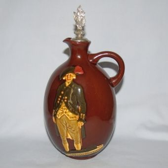Royal Doulton Aerographed Brown Captain Phillip decanter with stopper (Kingsware) - Royal Doulton Seriesware