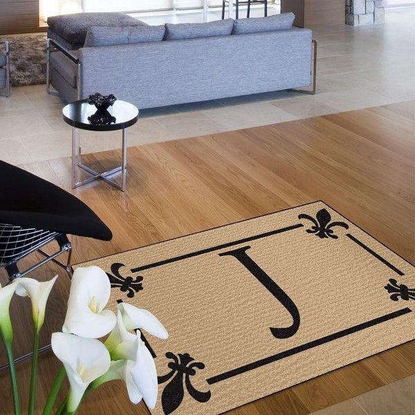 Monogram Fleur-de-Lis Rug (Beige) featuring polyvore, home, rugs, beige, outdoor door mats, outdoor mat, outside door mats, monogrammed door mats and outdoor patio rugs
