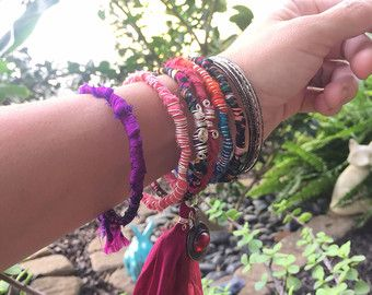 Sari zijde Bangle Stack Boeddha armband Tribal door thebrightpixie
