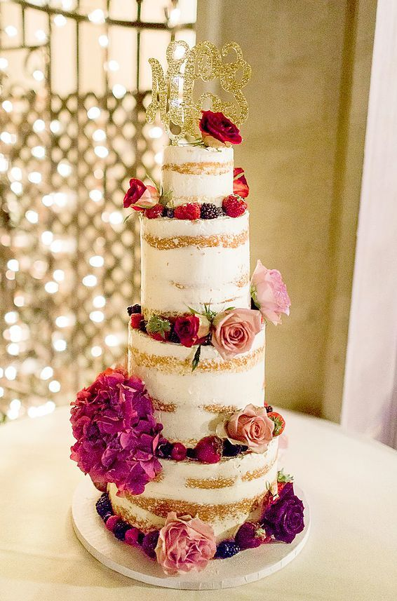 floral naked wedding cake; via Sweet Art Bake Shop