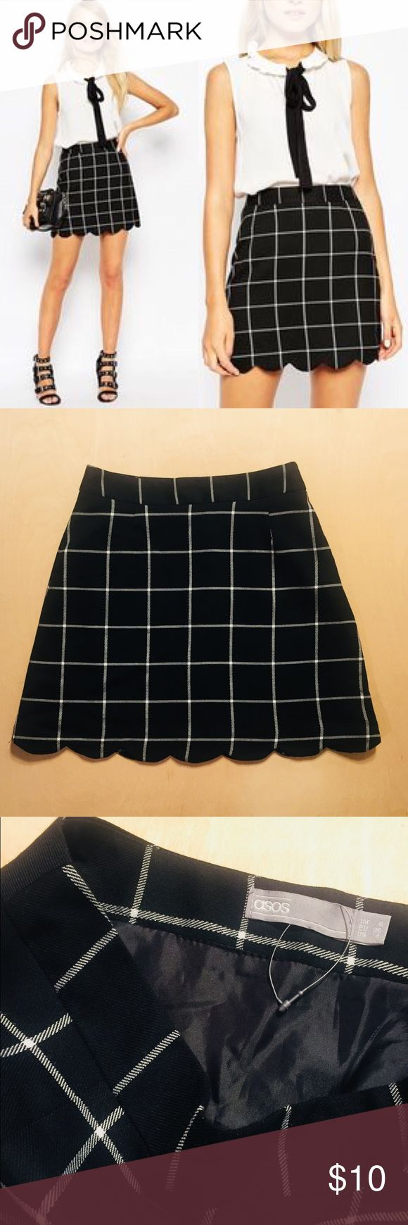 ASOS Plaid Check A-Line Schoolgirl Mini Skirt 4 S ASOS Mini skirt. Excellent condition - never worn. Size US 4. Zipper closure. ASOS Skirts Mini