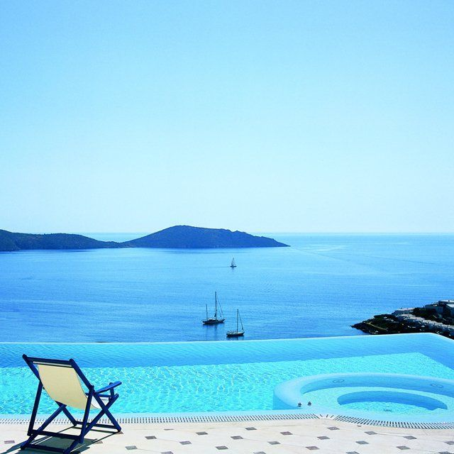 blue water, chair, boats, mountains, sky but where is it? Greece? Anybody have a guess?: Bucket List, Favorite Places, Elounda Gulf, Gulf Villas, Beautiful, Places I D, Travel, Crete Greece