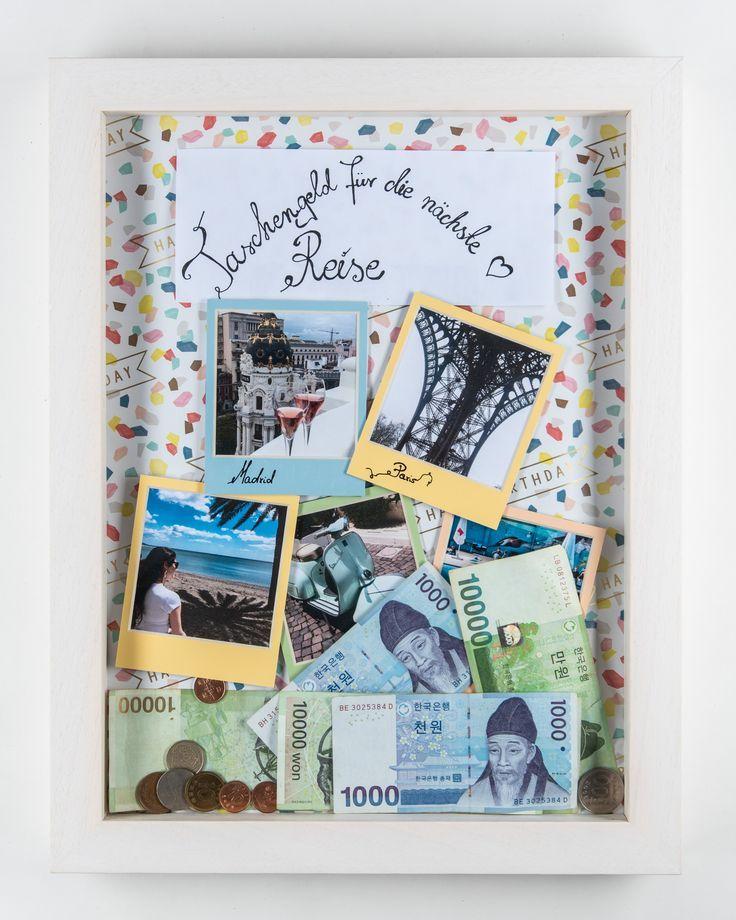 Gutschein Geschenk im Bilderrahmen  Reisekasse verschenken  DIY Reise-Spardose f… – Hochzeit