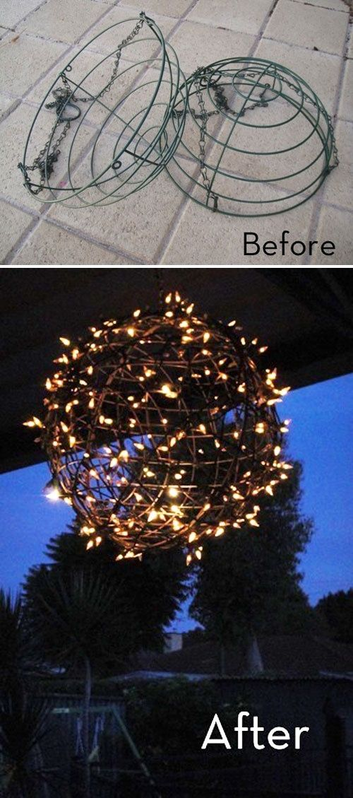 """CHANDELIER :: Easy DIY """"Fairy Light Ball"""" :: Made from a couple of plant baskets & Christmas lights! She used zip ties & silver spray paint, but you could use galvanized wire to tie them together & whatever color you want."""