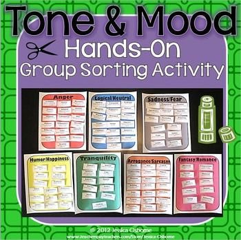 Tone and Mood - This 27 page download is a FUN, hands-on activity for students groups to better understand tone and mood vocabulary. Download the free preview to see all the materials.INCLUDES:-Detailed Purpose (pasted in part below) and Instructions-Answer Key-Pictures of Completed Product Using Different Options Provided-111 Tone / Mood Word Cards with Definitions-7 Colored Category Sheets with TitlesOther Options Provided: -7 Colorless Category Sheets with Titles-Blank Category BoxSAVE…