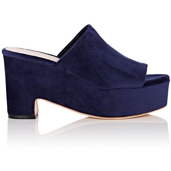 Loeffler Randall Women's Amara Velvet Platform Slide Sandals found on Polyvore featuring shoes, sandals, navy, open toe sandals, platform sandals, slip on wedge sandals, navy blue high heel sandals and navy sandals