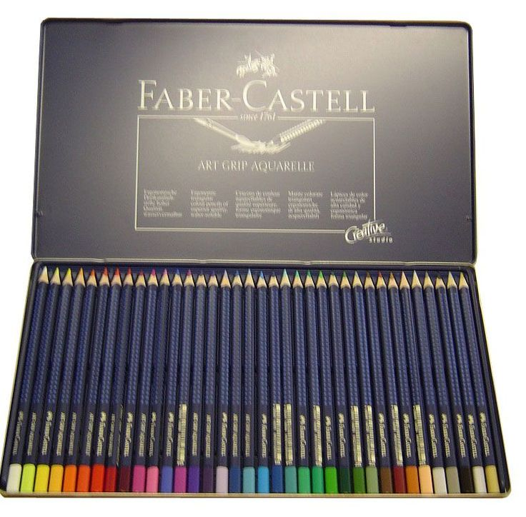 Lapis de cor aquarela FABER CASTELL ART GRIP com 36 cores