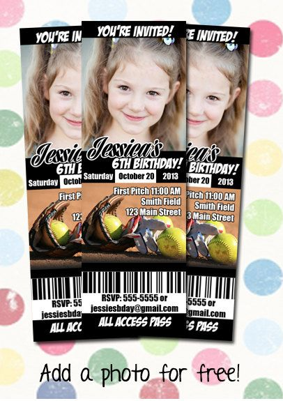 Softball Birthday Party Invitation Ticket Style by DigiPopCards, $12.99