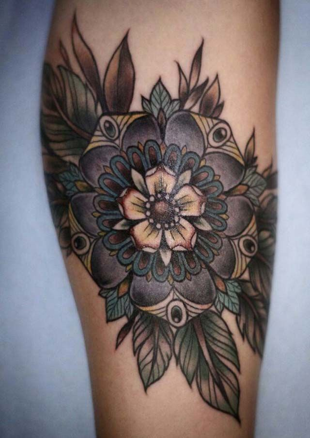 Black and White Flower Tattoo Design