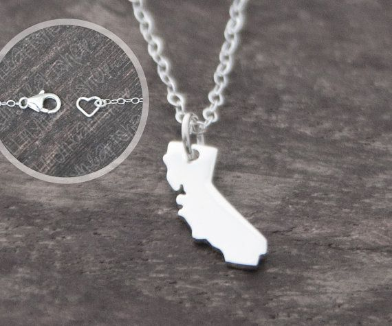 California Necklace Tiny Sterling Silver