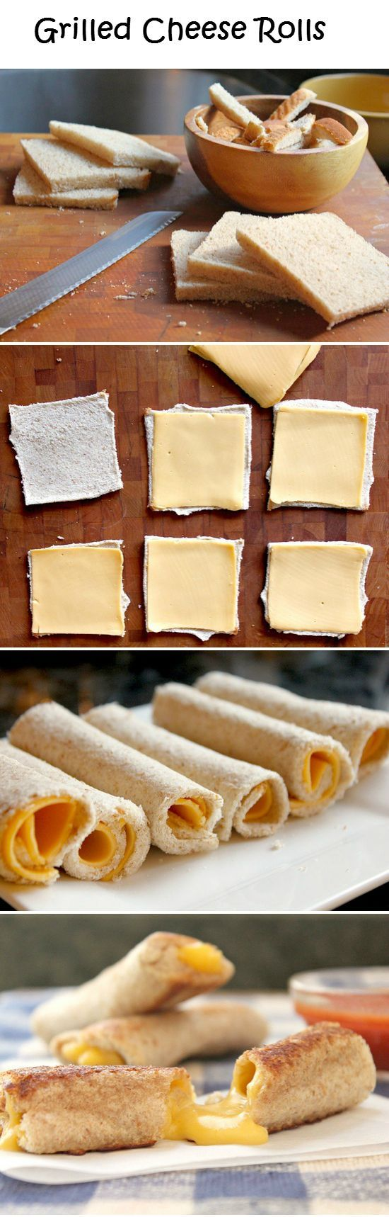 Grilled Cheese Rolls // use your favorite bread and cheese, serve with tomato soup, so lush!! #comfort #kids #appetizer