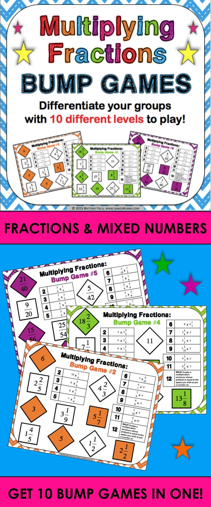 Multiplying Fractions Bump Games contains 10 different games to help students practice multiplying fractions and mixed numbers. As students work through the games, each one ramps up in difficulty. This means that you can have all of your students working at their appropriate level when using this set! These multiplying fractions bump games are perfect for small groups and centers, or can even be used as an informal assessment tool.