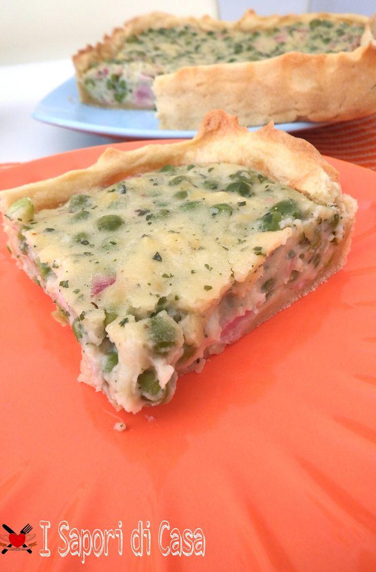 Torta salata con piselli e prosciutto cotto