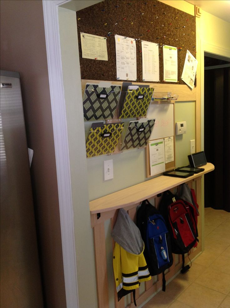 I love my new organization wall!  keeps kids backpacks off the floor all schedules handy plus you could use the shelve as a charging table
