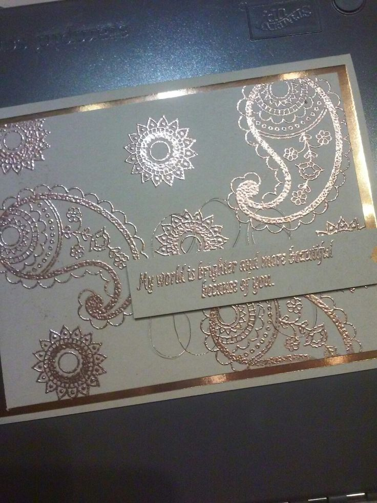 Beautiful copper using Paisleys and Petals stamp set, copper sheets, copper embossing powder and copper thread. www.lizkuhns.stampinup.net