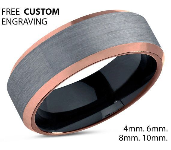 Mens Wedding Band Rose Gold Wedding Ring Tungsten Ring 10mm 18k Engagement Ring Promis Black Wedding Rings Black Tungsten Rings Rose Gold Mens Wedding Band