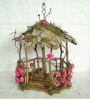 Fairy Garden Miniature Doll House ROSE Flower and Moss WOOD TWIG GAZEBO HandMade in Collectibles, Fantasy, Mythical & Magic, Fairies | eBay