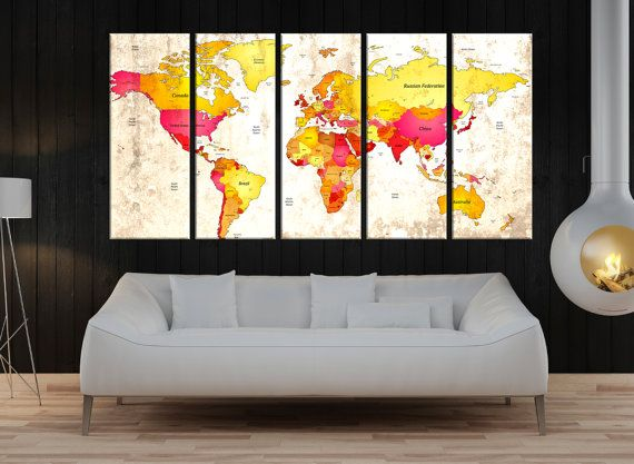 large Push pin world map with details, extra large wall art print,  world map push pin wall decor, world map canvas prints wall art No:8S62