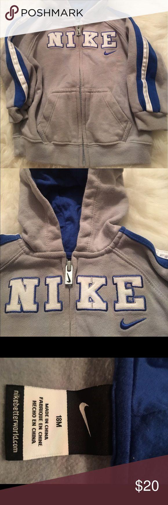 Little boys Nike zip up hoodie Gray blue and white 18mths zip up hoodie size 18mths Nike Shirts & Tops Sweatshirts & Hoodies
