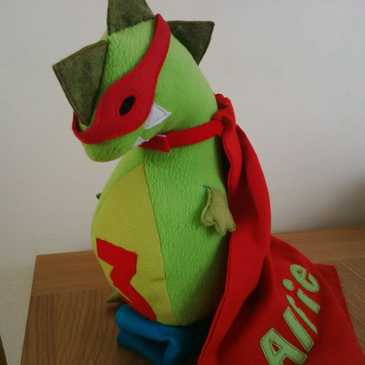 personalised birthday keepsake (customer order) Super hero dinosaur made from fleese, felt and material :)