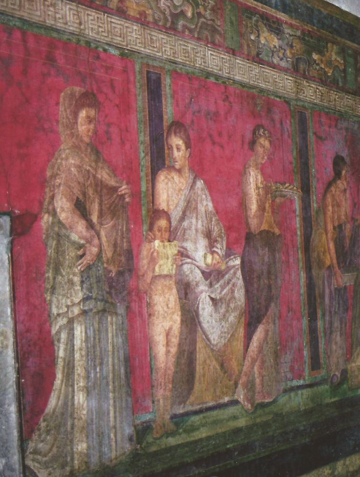 A wall - Pompeii, Italy - frescos still hauntingly beautiful in many ruins....