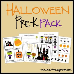 Halloween Pre K Pack w/ Prewriting Practice Sheets, Cutting Practice  Which one is different? Finish the Pattern Sheet, Size Sequencing Sheet  Halloween Strip Puzzle, 4-Piece Puzzles, Sorting Practice, Counting Practice Cards, Color the Pumpkin,  Letter and Sound Finding Cards,   3-Part Vocabulary Cards, Shadow Matching