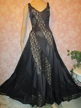 Vintage Nightgown 70s Olga Lace Inset XS  S small Black Long full