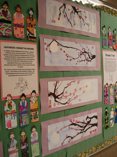 """Folded Paper Kimonos, and blown ink cherry blossom trees. Perhaps to be done with a unit based on """"Sadaku and the Thousand Paper Cranes""""."""