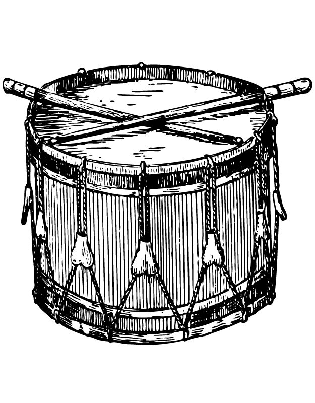 Old Ink Drawing of a Patriotic Military Drum @ Vintage Fangirl