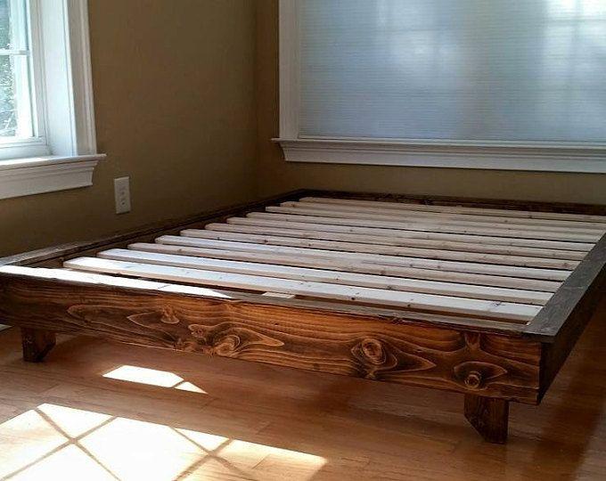 Plateforme de lit, profil bas, Ava solide lit en bois, cadre de lit, lit sur mesure, commentaires, livraison gratuite