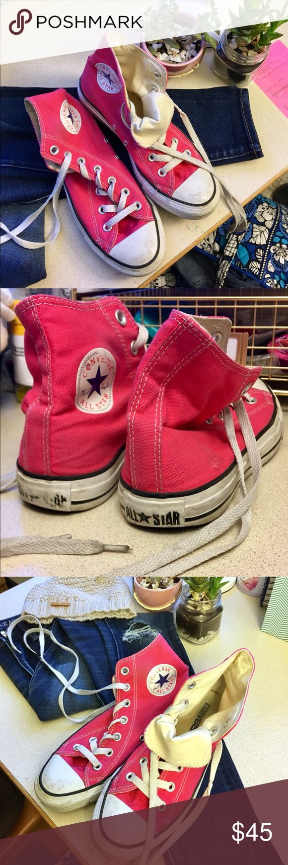 Pink Converse⚡️ Converse high tops, classic Chuck Taylors with statement bold color pop 🔥 Converse Shoes Sneakers