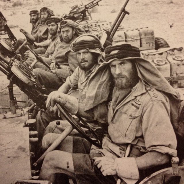 WWII men of the new formed British SAS usually supported by the Long Range Desert Group (LRDG) in the North Africa Campaign.