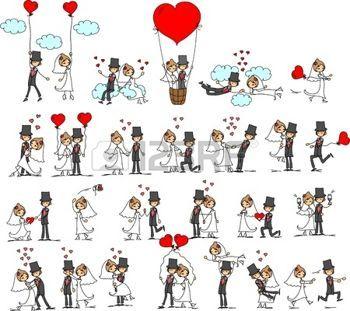 couple marié dessin: photos de mariage de dessin animé