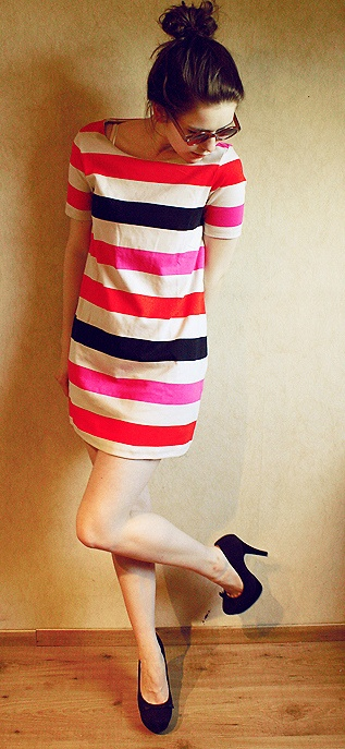 Love this dress!: Fashion, Style, Color, Dresses, Outfit, Stripe Dress, Bright Stripes