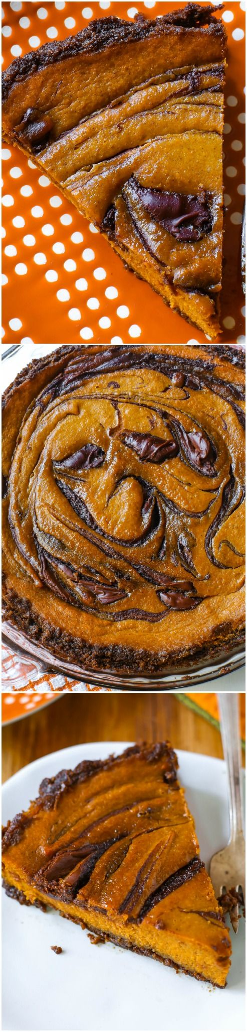 Thanksgiving dessert: A twist on traditional pumpkin pie - swirled with decadent Nutella and baked in a gingersnap crust!