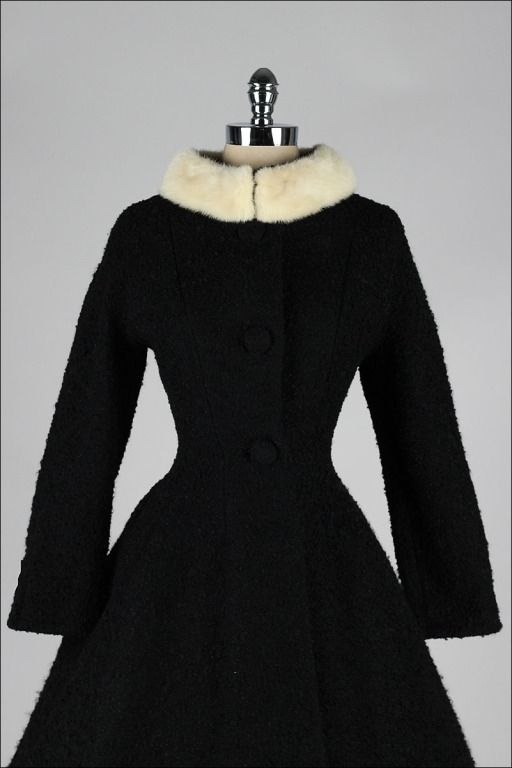 1950 | Black Wool Boucle with White Mink Collar Princess Coat by Lilli Ann