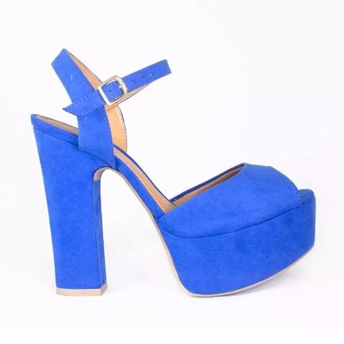 sandália salto grosso azul royal