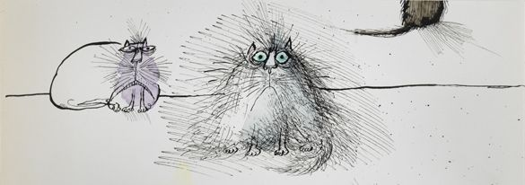 Four cats by Ronald Searle, as exhibited in the Fitzwilliam Museum. Click to see more news from the Fitzwilliam.