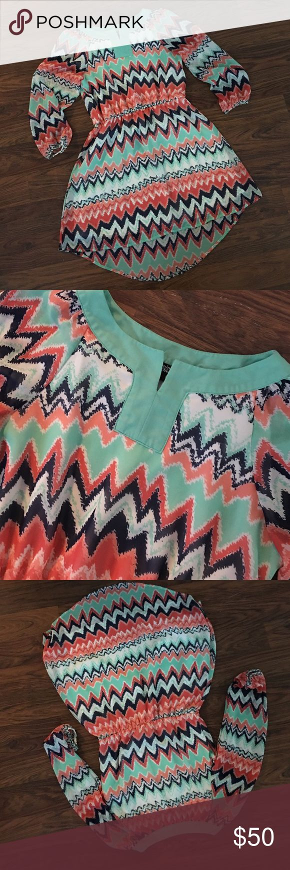SEQUIN HEARTS Coral Navy Mint Chevron Dress Hi Low Adorable dress from SEQIN HEARTS. Print is an abstract chevron in shades of coral pink / orange, navy blue, mint green and White. Size small. Worn once.  Hem is a high low. So super cute.  Purchased at Nordstrom Sequin Hearts Dresses High Low
