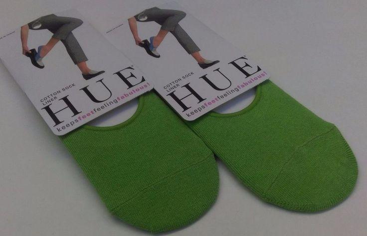 nwt HUE ladies cotton foot sock liners SET OF 2 PAIRS, kelly green, free ship #HUE #Footliner