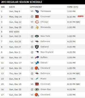 Sean's Ramblings: 2013 Pittsburgh Steelers Schedule