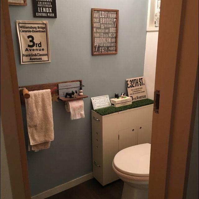 壁紙屋本舗/セリア/DIY/トイレ/バス/トイレのインテリア実例 - 2016-03-02 11:15:37 | RoomClip(ルームクリップ)