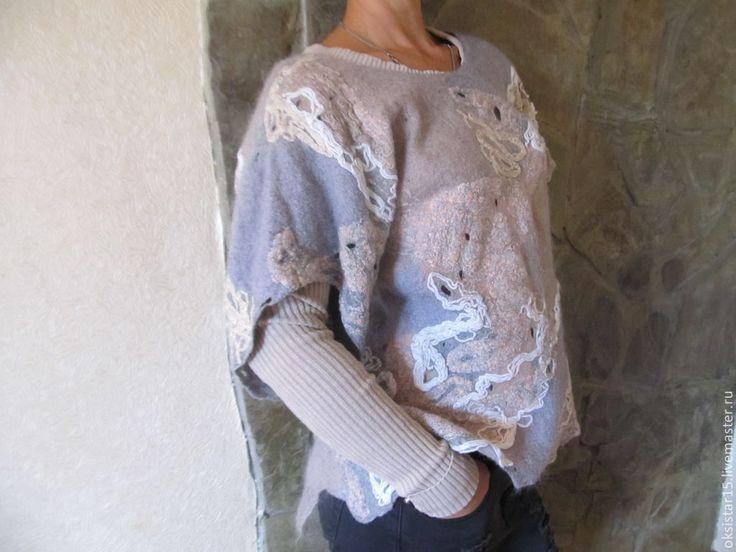 """Купить Авторский валяный свитер-туника """"Причудливый узор"""" - абстрактный, свитер женский, свитер теплый"""